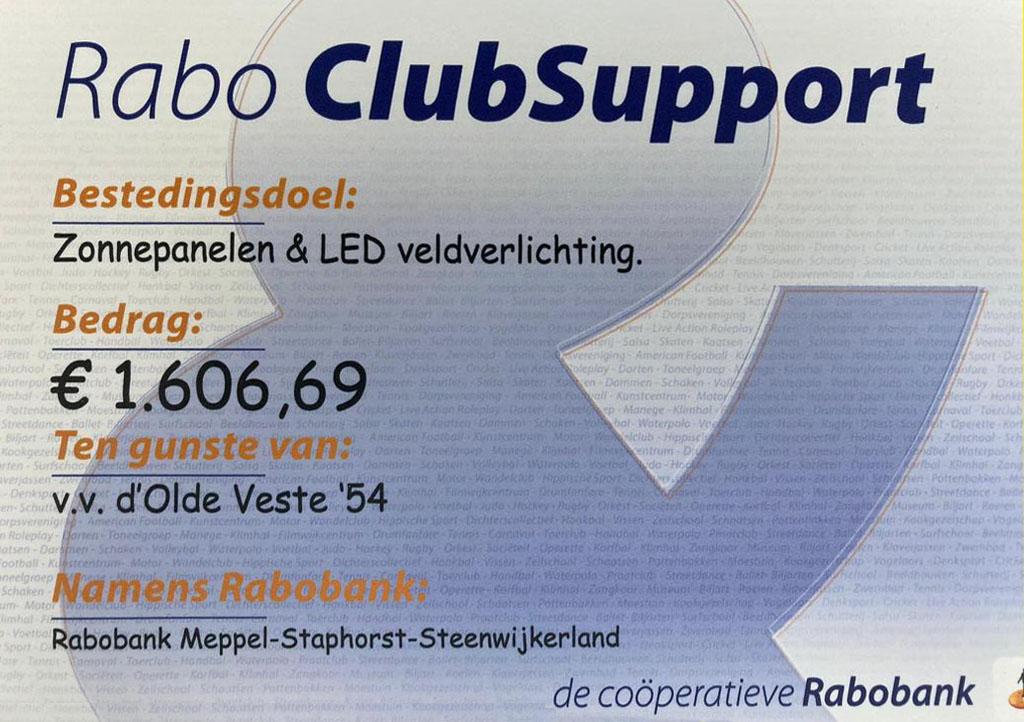 Rabo Clubsupport - Rabobank EN vooral alle stemmers op Olde Veste bedankt!